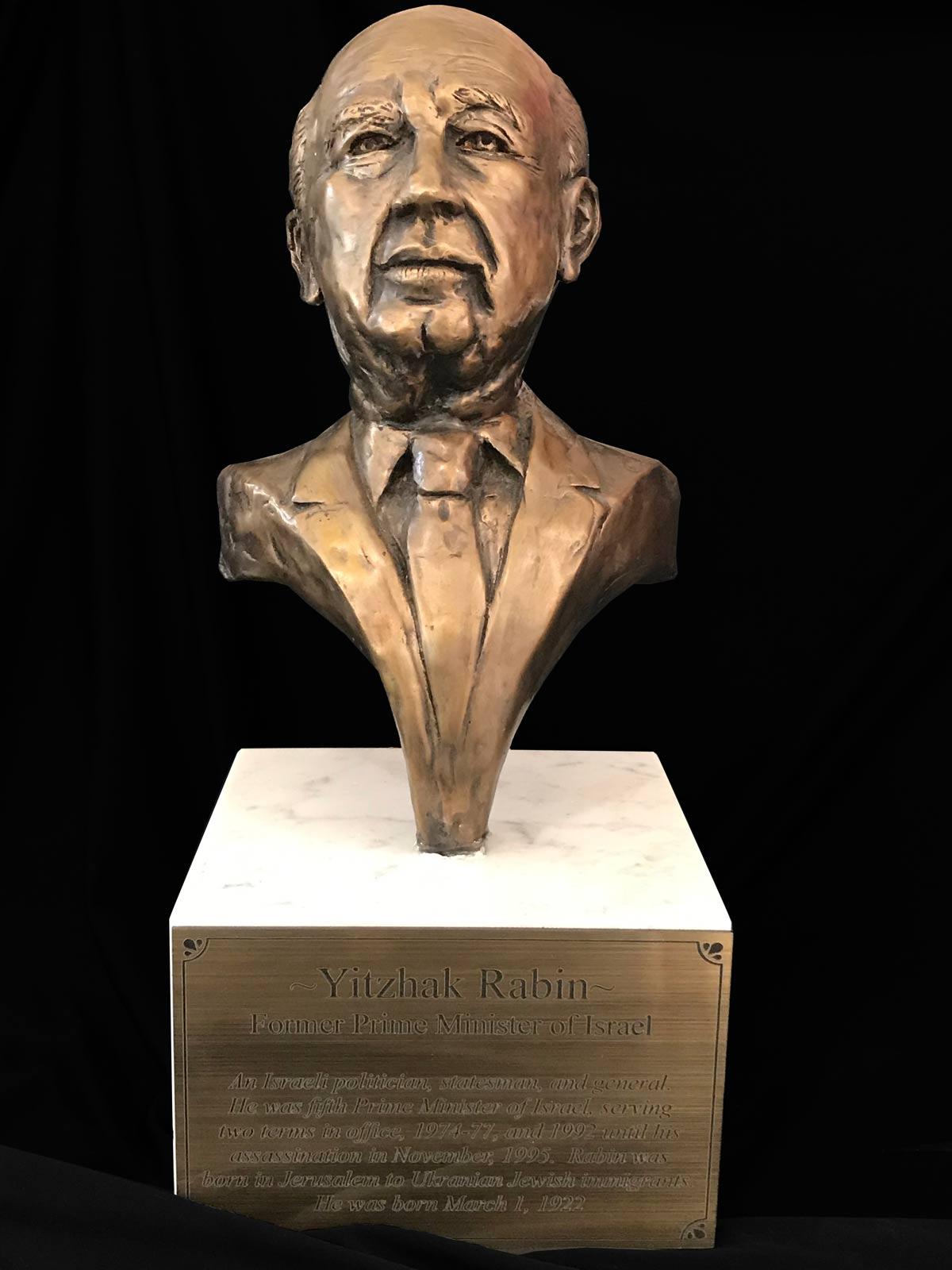 Yitzhak Rabin Bust in Bronze by Yaacov Heller